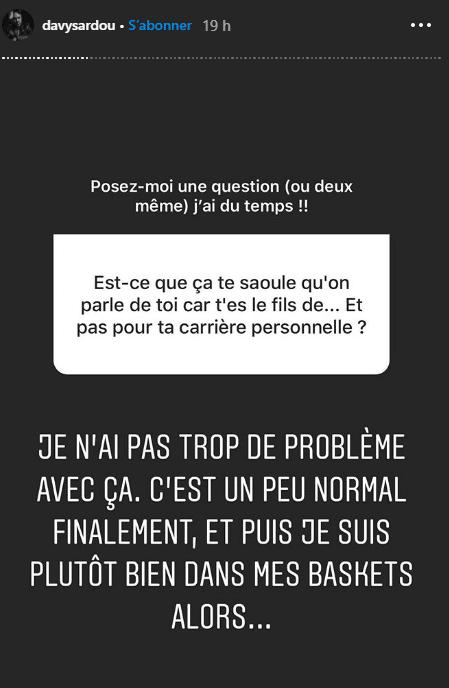Davy Sardou avait mis son compte Instagram en privé