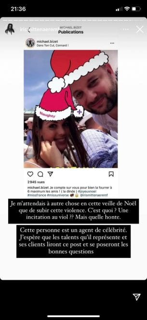 iris-mittenaere-instagram-message-horrible-agression-noel
